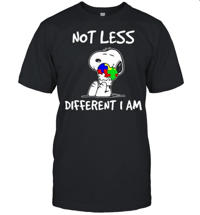 Snoopy Hug Heart Autism Awareness Not Less Different I Am Shirt