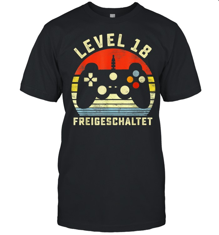 18 Geburtstag Geschenk Level 18 Unlocked Video Gamer shirt
