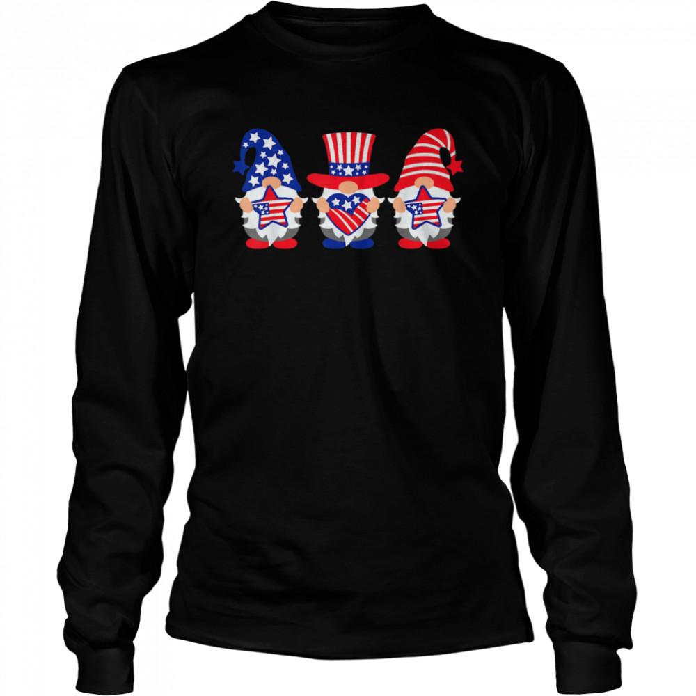 Three Gnomes 4th Of July American USA Patriotics shirt Long Sleeved T-shirt