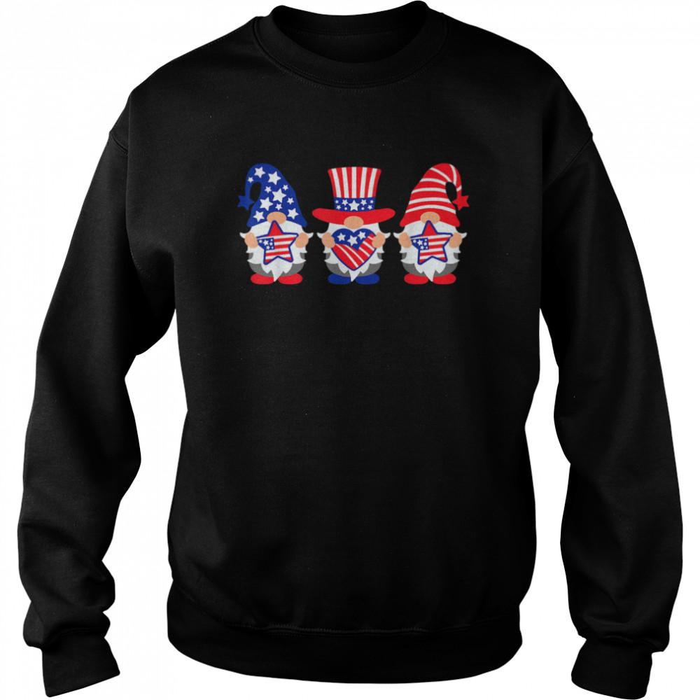 Three Gnomes 4th Of July American USA Patriotics shirt Unisex Sweatshirt