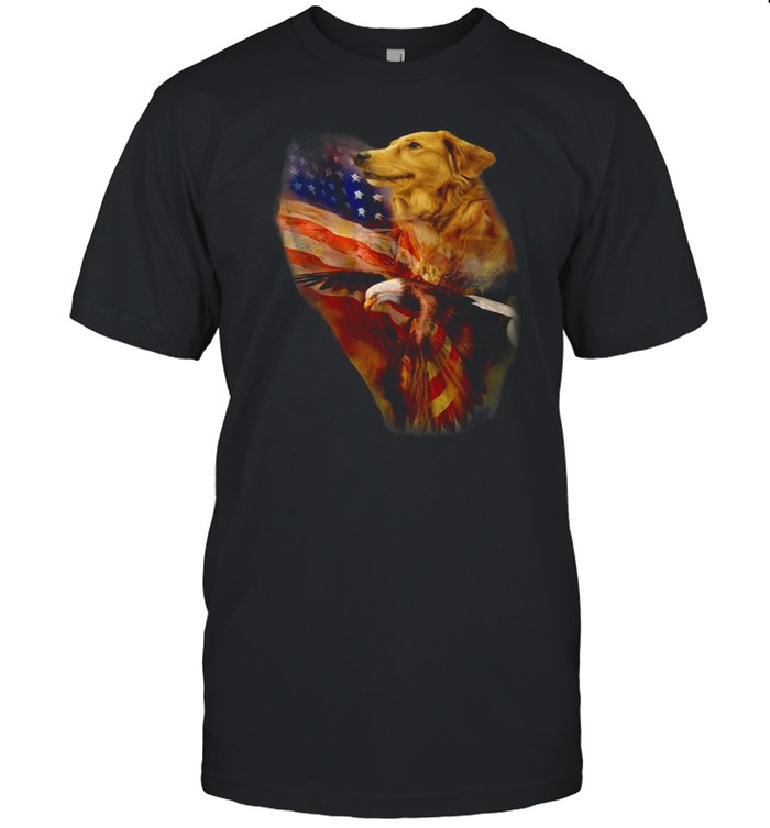 Eagle Cgolden Retriever American Wings Happy 4th Of July Shirt