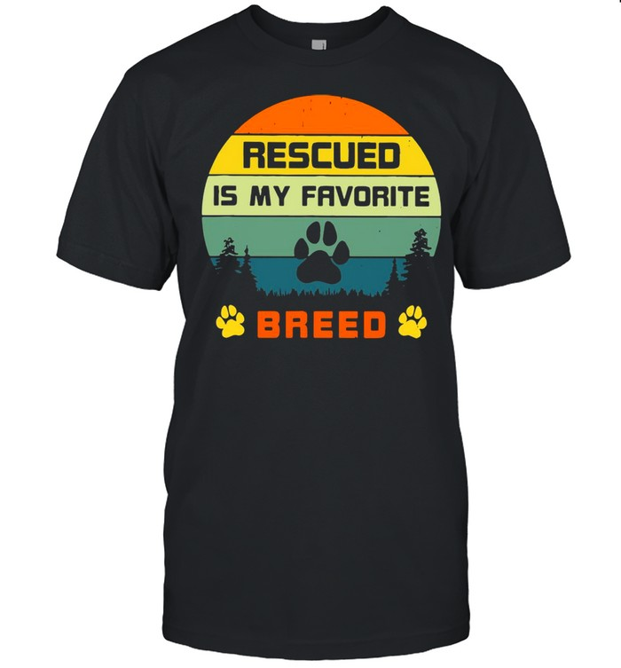 Rescued Is My Favorite Breed Retro 70s Sunset Off Camping Vintage T-shirt