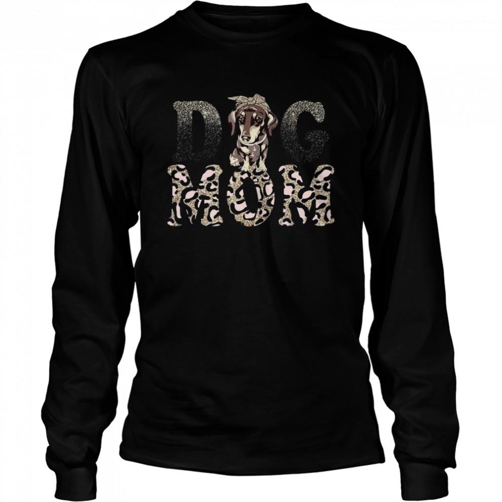 Dachshund Leopard Dog Mom shirt Long Sleeved T-shirt