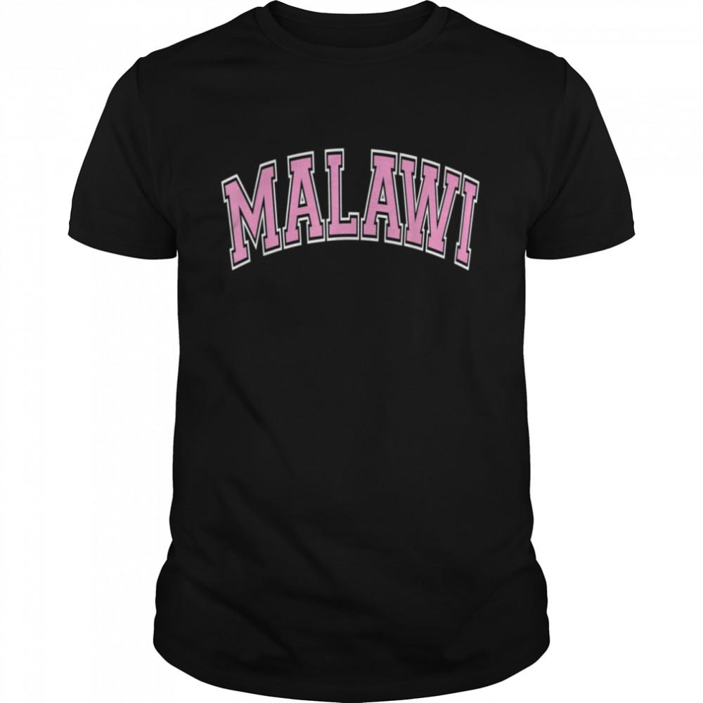 Malawi Varsity Style Pink Text shirt